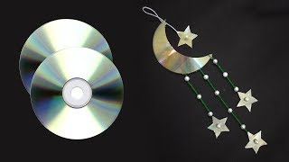 How To Make MOON And STAR Waste CD | Eid Mubarak Special Craft | Room Decor | 2019