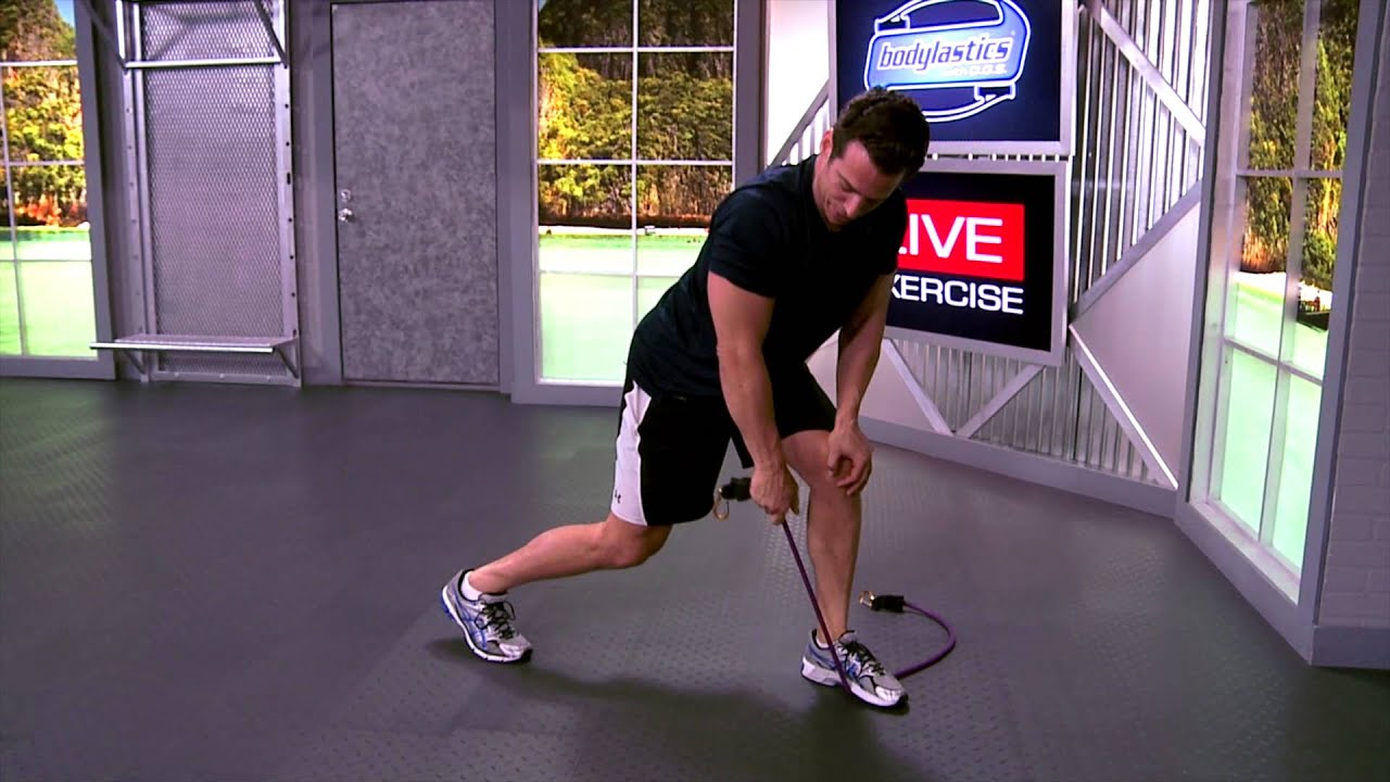 One Arm Bent Over Row Lawn Mower with resistance bands ...  One Arm Bent Ov...