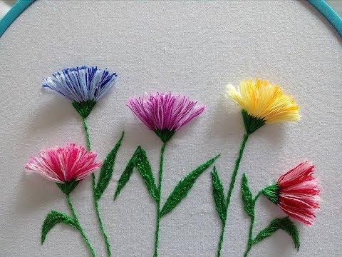 Pom pom flower stitch | Flores con flecos | Hand embroidery