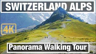 4K City Walks: Mannlichen Switzerland ALPS Panorama Walking Tour mountains grass path
