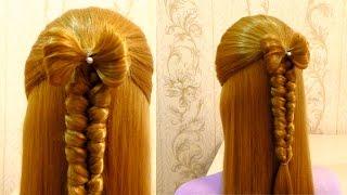 Простая прическа в школу с плетением на каждый день Easy school hairstyle(Простая прическа в школу с плетением на длинные и средние волосы. Easy back to school hairstyle for long hair Канал с прическа..., 2015-08-20T10:25:09.000Z)