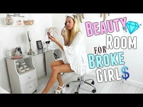 BEAUTY ROOM for BROKE GIRLS   DIY Room Decor 2018   DIY Vanity for $0   Room Tour decor on a budget