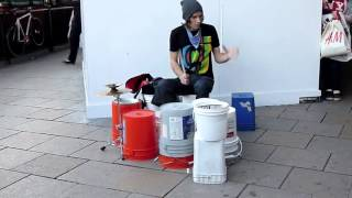 one of the best street drummer amazing skills and talent