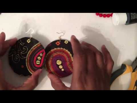 DIY Fabric andwood earrings