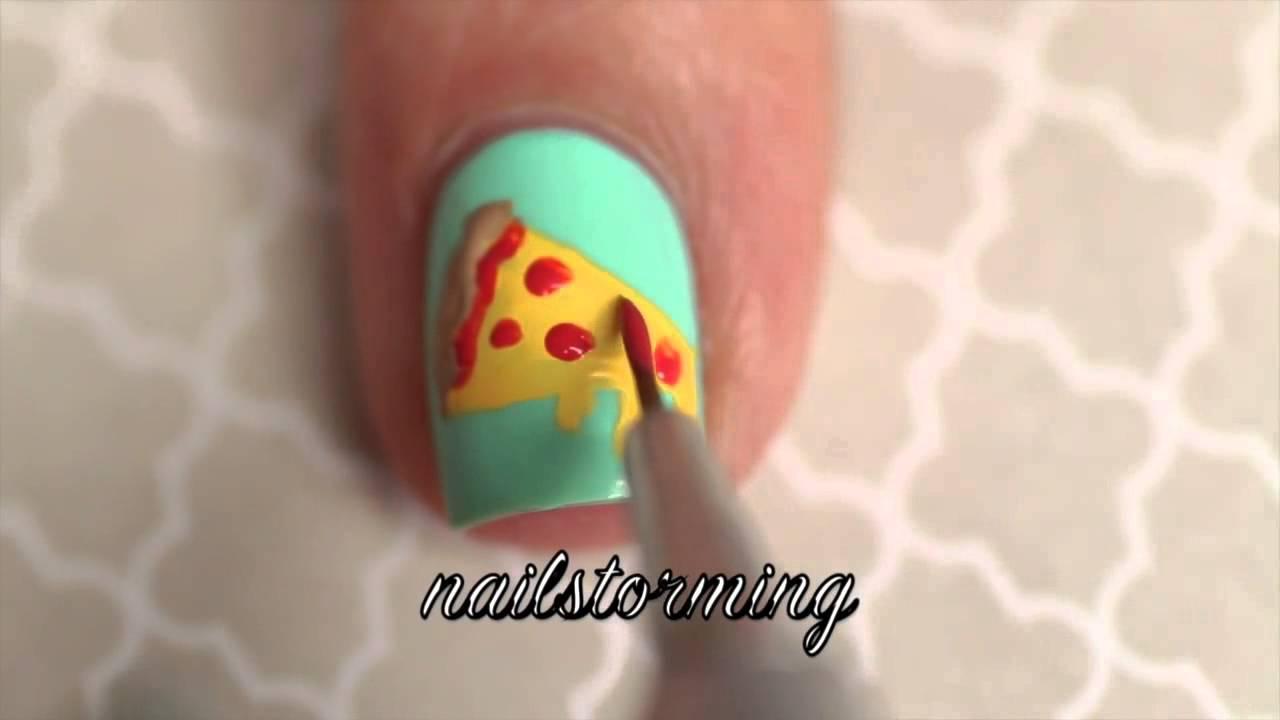 Nail Art Tutorial Pizza - YouTube