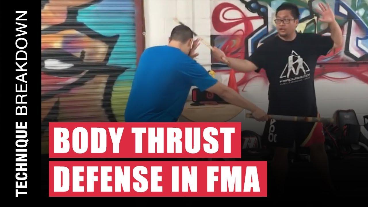 Defense Against the Body Thrust Attack  in Filipino Martial Arts | Kali | Arnis | Eskrima