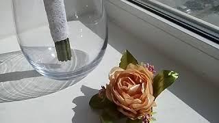 Свадебный букет из атласных лент, Пионы,канзаши