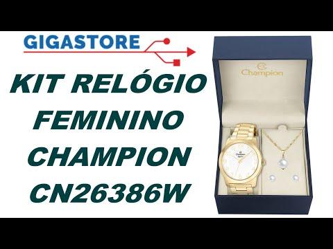 190de599a64 Relógio Feminino Champion CN26386W Analógico Dourado + Colar e Brincos