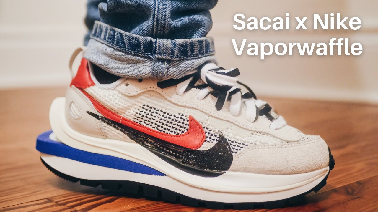SACAI X NIKE VAPORWAFFLE ON-FOOT LOOK