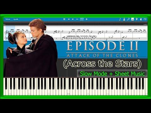 Across the Stars - Star Wars Episode II [Slow + Sheet Music] (Piano Tutorial)