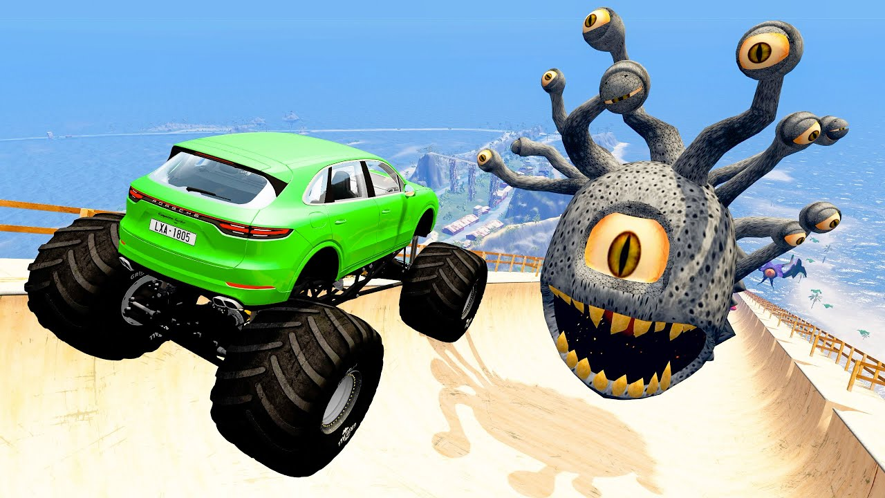 BeamNG Drive Game - HUGE JUMP BIG AIR CRASHES   Random Cars Satisfying Crashes & Fails Compilation