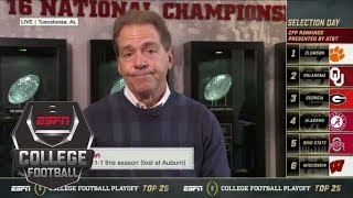 Nick Saban was recruiting when the College Football Playoff teams were announced | ESPN