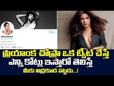 ప్రియాంక చోప్రా ఒక ట్వీట్ చేస్తే ఎన్ని కోట్లు ఇస్తారో  తెలిస్తే | Priyanka Chopra 1 Tweet In Crores