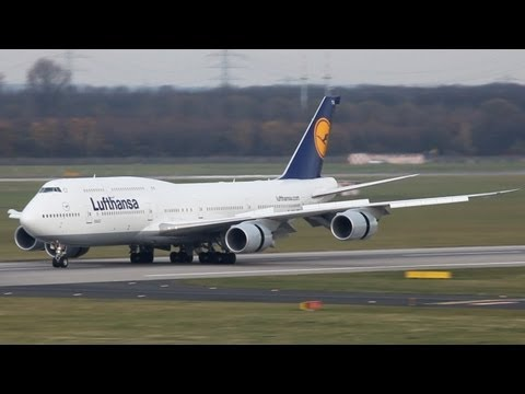 First Lufthansa Boeing 747-8i at Düsseldorf ! Very Fast Approach And A Water Canon Salute.