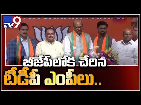 BJP leaders speak to media on TDP MPs joining - TV9