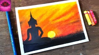 how to draw Lord Buddha Drawing for beginners with Oil Pastels - step by step