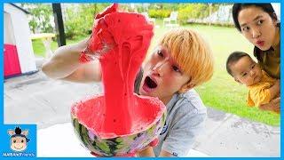 수박 슬라임 만들기 놀이 Watermelon slime Pretend Play for kids & children
