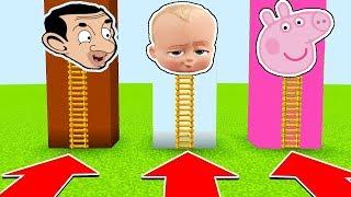NE CHOISISSEZ PAS LA MAUVAISE ÉCHELLE MINECRAFT !! Mr Bean, Peppa Pig, Baby Boss !   fr troll kikoo