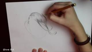 Видеоурок о рисовании волос простым карандашом.