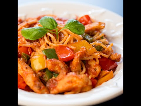 Spaghetti With Chicken And Bell Pepper