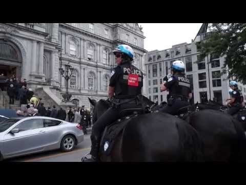 SPVM Cavalry Mounted Police At Montreal City Hall For Jean Doré Funeral 00041