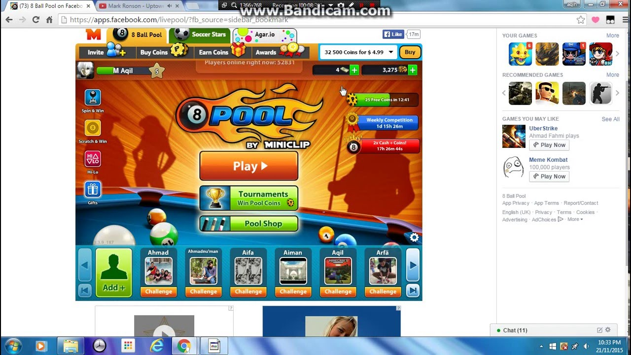 Play With My Friend 8 Ball Pool On Facebook Youtube