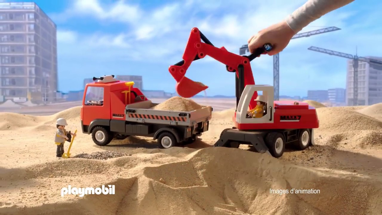playmobil le camion de chantier et le tractopelle fr youtube. Black Bedroom Furniture Sets. Home Design Ideas