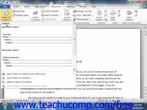 word 2010 tutorial creating a table of contents microsoft training