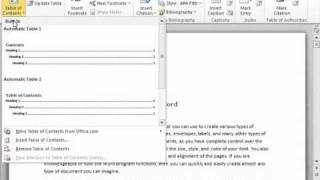 Word 2010 Tutorial Creating A Table Of Contents Microsoft Training Lesson 19.1