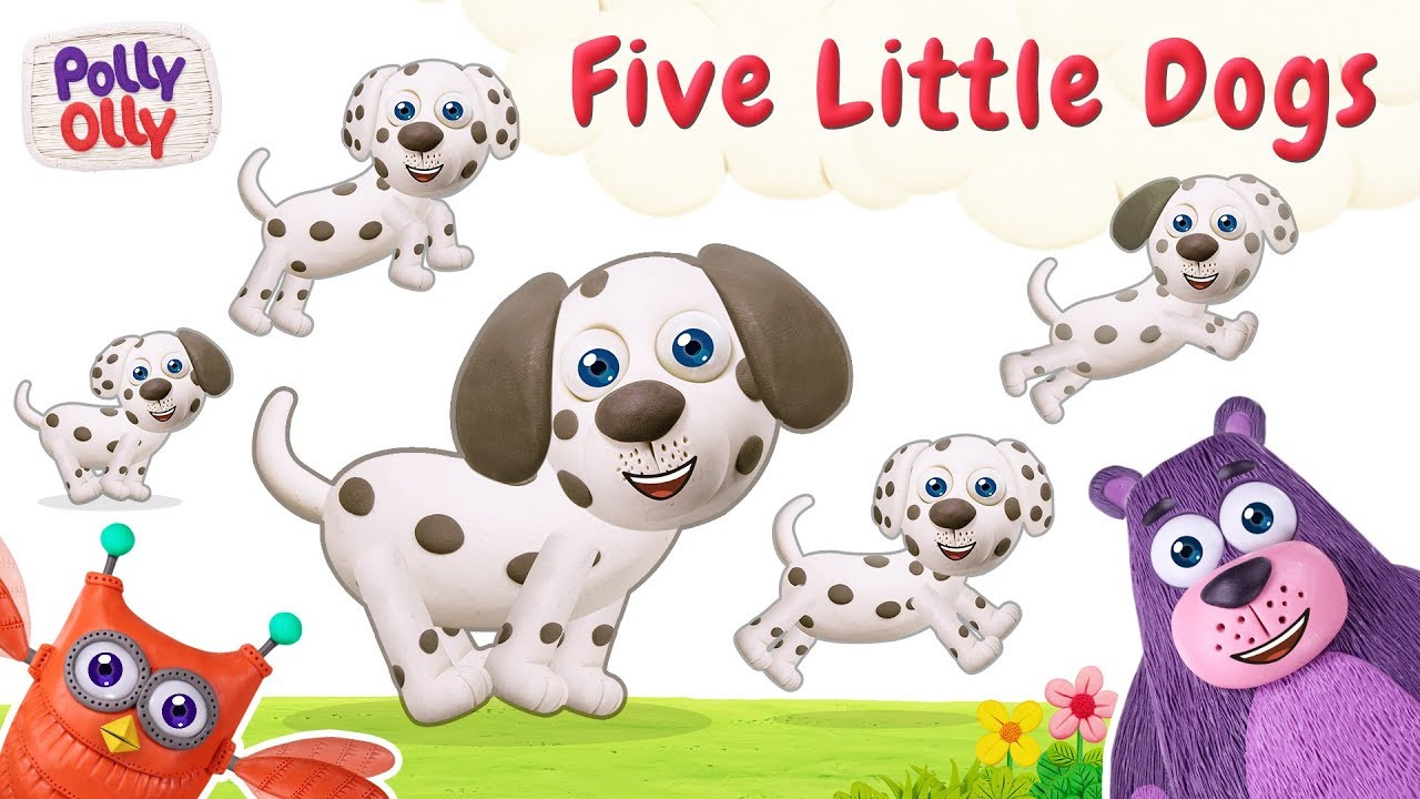 Five Little Dog Nursery Rhyme With Lyrics Polly Olly