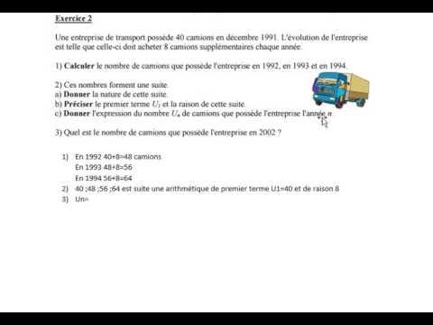 Exercice Suite Arithmetique T Bac Pro Youtube