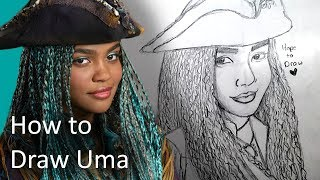 How to Draw Uma from Descendants 2 - Easy Realistic Step by Step Drawing