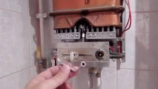 Ремонт колоки газовой Юнкерс тухнет огонек чистим трубку