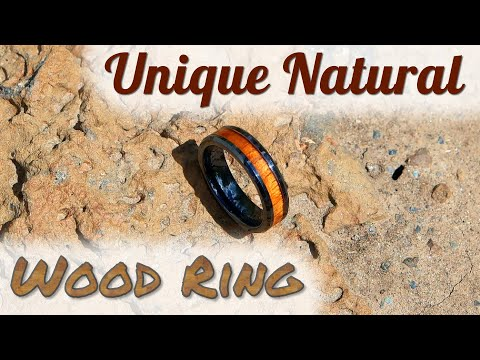 Awesome Unique Natural Ceramic Wood Ring Inlay Mens / Womens | Wedding Ring | Review