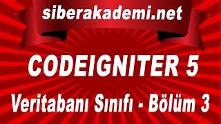 Codeigniter Kullanımı 5 Veritabanı Sınıfı Bölüm 3