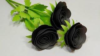 Stick Flower: DIY Easy Beautiful Paper Black Rose Decoration Handcraft | Jarine's Crafty Creation