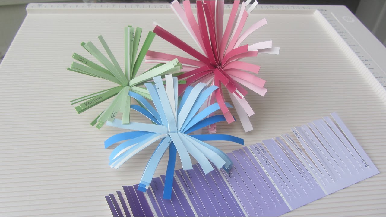 Paint Sample Craft How to Make Finge Paper Flower Tutorial - YouTube