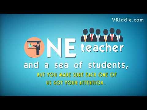 Thank you Teacher for Inspiring Me | Teachers Day Greetings E Card Video, Animated Speech Wordings