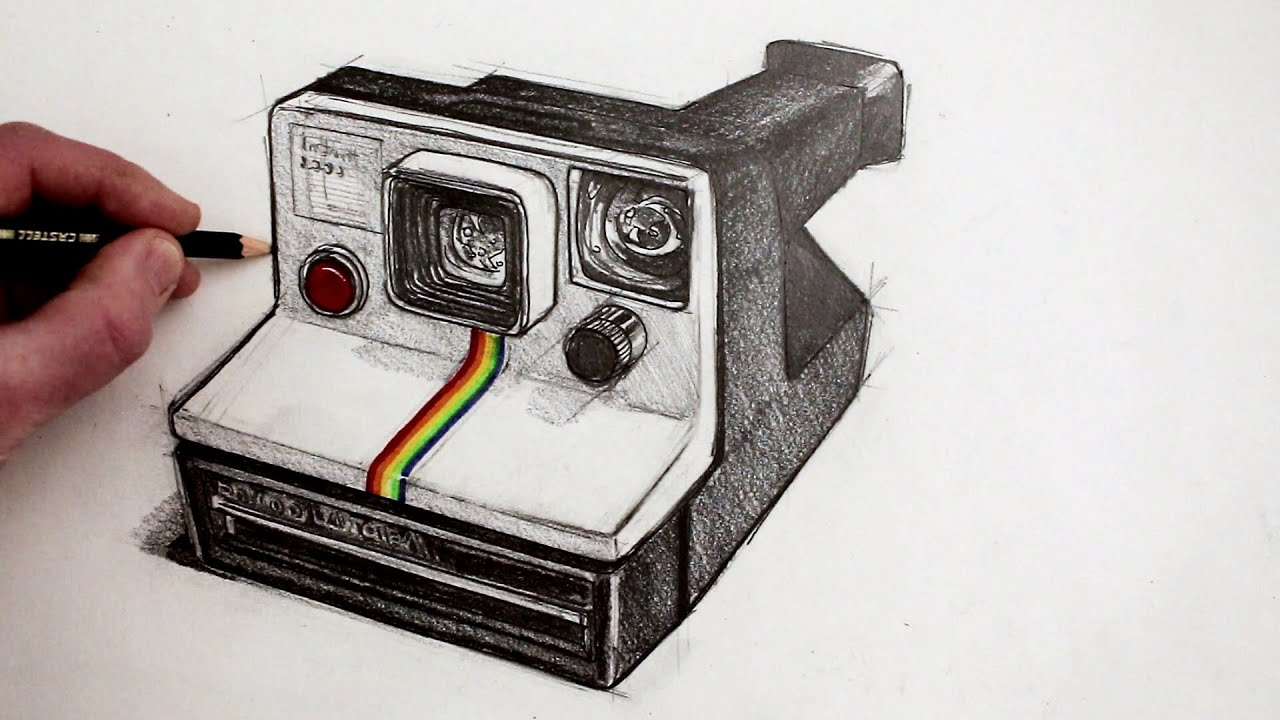 How To Draw A Camera: Polaroid Land Camera - YouTube