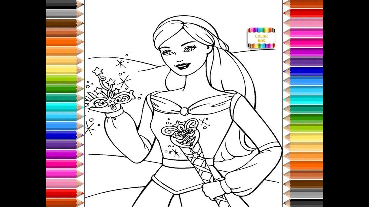Barbie princesa, dibujos para colorear, coloring channel for kids ...