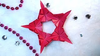 Luxury origami 5 pointed star from triangles. Easy and rich paper star and snowflake