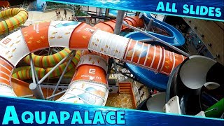 ALL CRAZY WATER SLIDES at Aquapalace!! Huge Indoor Water park in Prague, Czech Republic