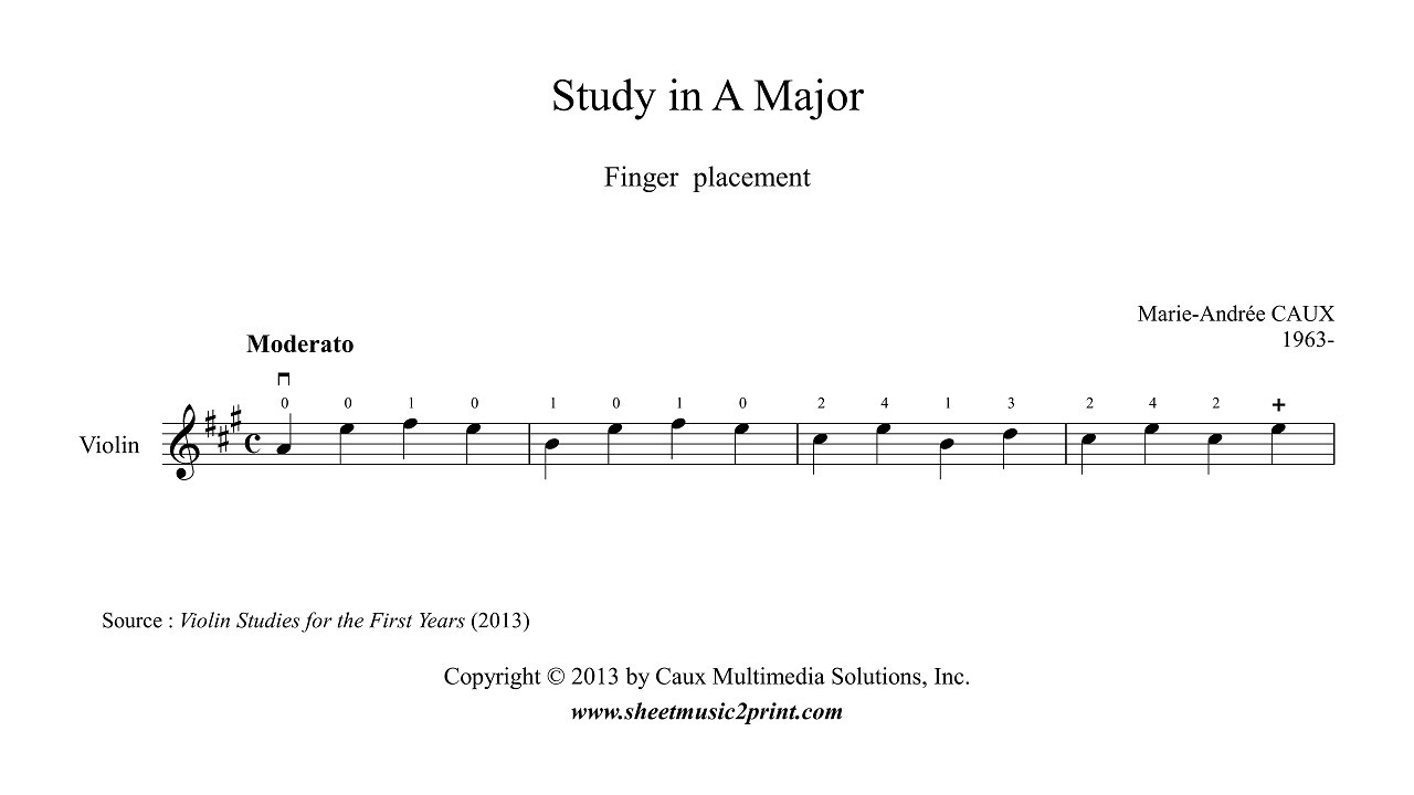hight resolution of violin study for finger placement for beginners