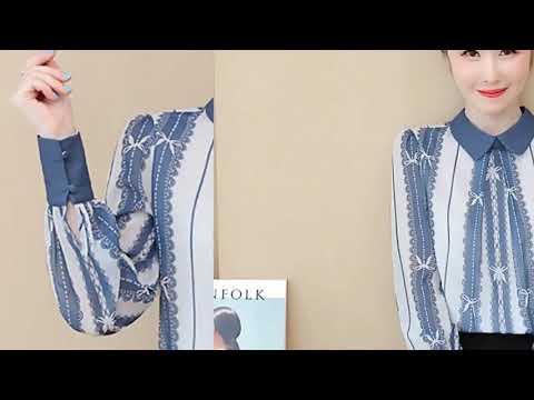 가을 한국 여성 셔츠 빈티지 여성 인쇄 쉬폰 블라우스 OL 셔츠 플러스 사이즈 여자 긴 소매 블라우스 셔츠 여성 블라우스