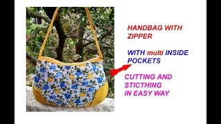 छोटे से कपड़े से बनाए MULTI POCKETS HANDMADE BAG WITH ZIPPER ,CUTTING AND STITCHING