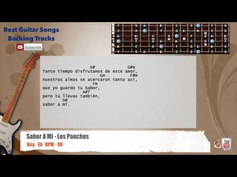 Sabor A Mi - Los Panchos Guitar Backing Track with scale, chords and lyrics