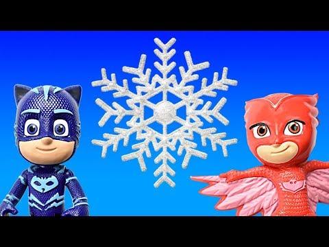 PJ Masks Catboy and Owlette make DIY Paper Snowflakes