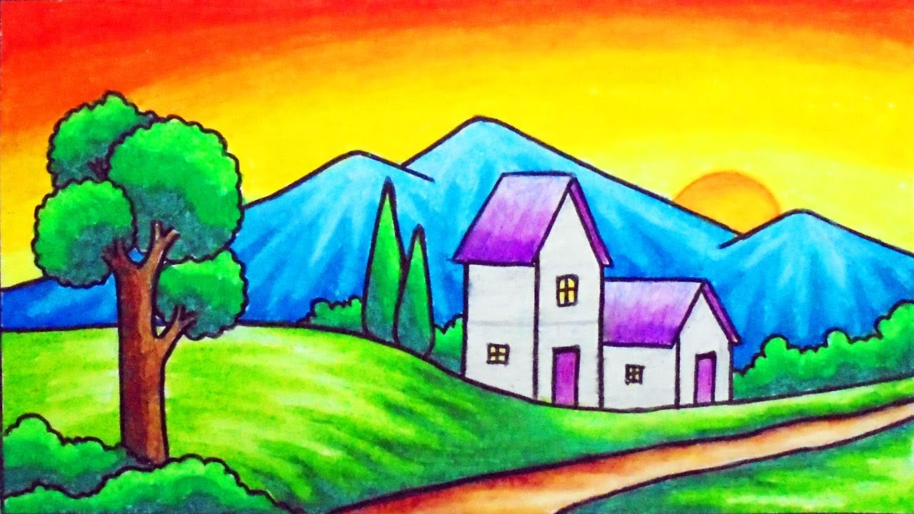 How to Draw Easy Scenery | Drawing Sunset in the Village ...