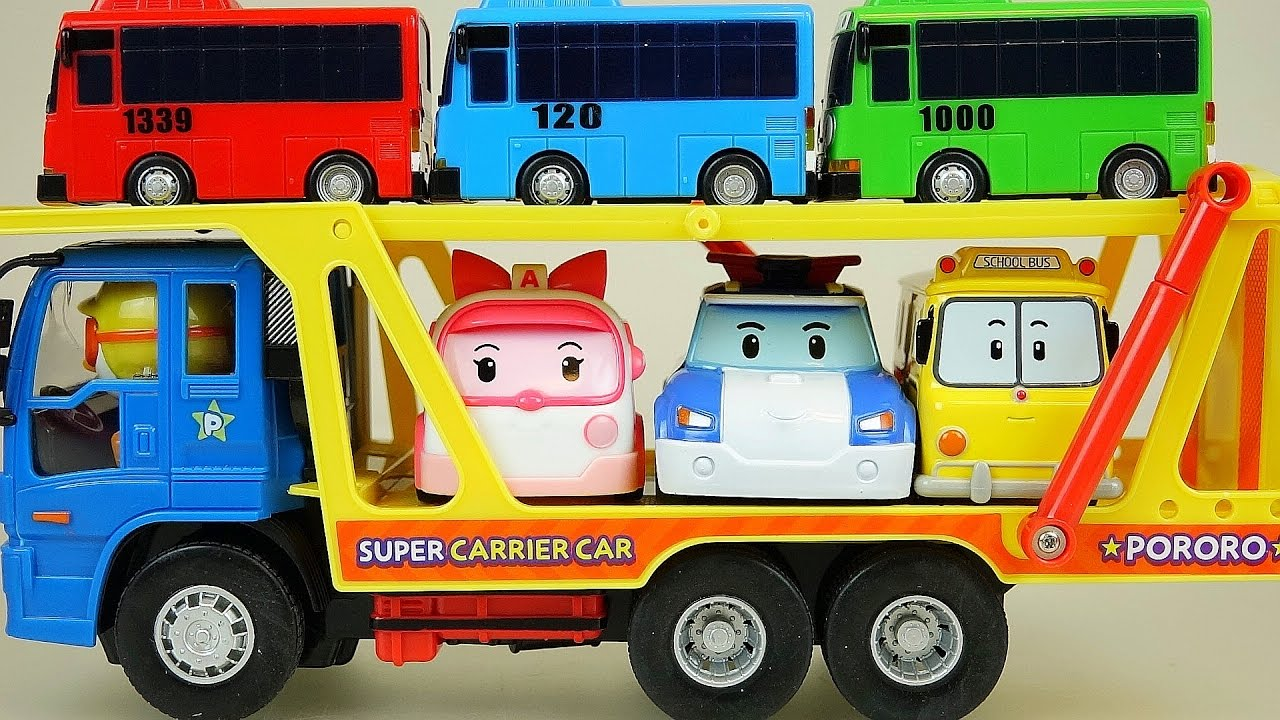 Robocar Poli Tayo bus on Pororo Carrier car toy