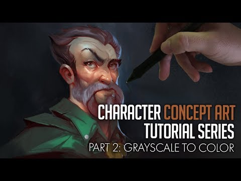 Character Concept Art Tutorial - Grayscale to Color!